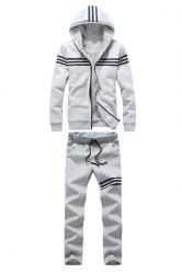 Loose Fit Hooded Stripes Spliced Rib Hem Long Sleeves Men's Flocky Hoodie+Sweatpants