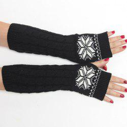 Pair of Chic Snowflake Pattern Hemp Flowers Knitted Fingerless Gloves For Women - BLACK
