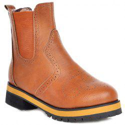 Preppy Engraving and Elastic Design Women's Short Boots - BROWN