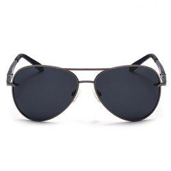 Stylish Stripy Embellished Metal Frame Sunglasses For Men -