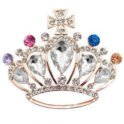 Crown Shape Rhinestoned Faux Crystal Brooch