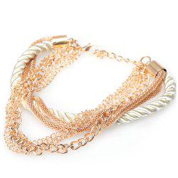 Europe America Electroplate Multilayer Hand Woven Women Bracelet - WHITE