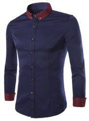 Color Block Shirt Collar Brooch Embellished Long Sleeves Slimming Men's Button-Down Shirt - CADETBLUE M