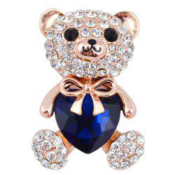 Cute Rhinestoned Faux Crystal Bear Shape Brooch For Women -