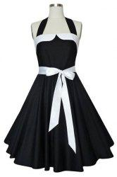 Vintage Halterneck Self-Tie A-Line Dress For Women