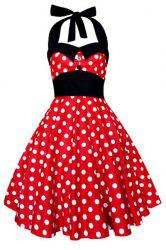 Vintage Halterneck Polka Dot Print A-Line Dress For Women - RED M