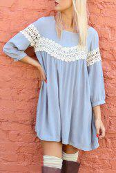 Sweet Scoop Neck 3/4 Sleeve Crochet Lace Spliced Dress For Women - LIGHT BLUE