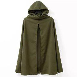 Hooded Solid Color Slit Clock Wool Cape - ARMY GREEN