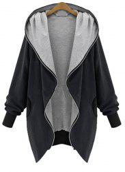 Chic Style Hooded Long Sleeve Pocket Design Coat For Women