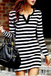 Chic V Neck Long Sleeve Striped Women's Dress -