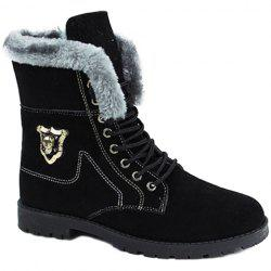 Stylish Skull and Faux Fur Design Men's Boots - BLACK