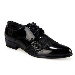 Stylish Geometric Pattern and Black Design Men's Formal Shoes - BLACK