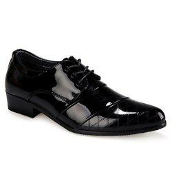 Stylish Patent Leather and Checked Design Men's Formal Shoes - BLACK