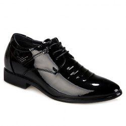 Fashion Black and Lace-Up Design Men's Formal Shoes - BLACK
