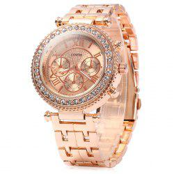 Geneva Female Quartz Watch with Diamond Bezel Stainless Steel Strap