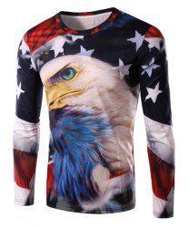 Round Neck 3D Bald Eagle and Flag Print Long Sleeve Men's T-Shirt - COLORMIX