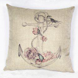 Casual Square Ancre and Rose Pattern Decorative Pillowcase(Without Pillow Inner) -