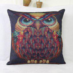 Fashion  Linen Owl Pattern Square Decorative Pillowcase(Without Pillow Inner) - COLORMIX