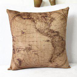 Classical World Map Pattern Linen Decorative Pillowcase(Without Pillow Inner) - KHAKI
