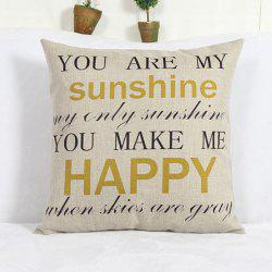 Modern Square Letter Pattern Linen Decorative Pillowcase (Without Pillow Inner) -
