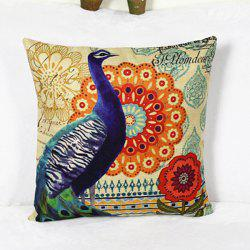 Sweet Linen Peacock Pattern Decorative Pillowcase (Without Pillow Inner)