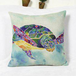 Fresh Sea Turtle Pattern Cotton and Linen Decorative Pillowcase (Without Pillow Inner) -