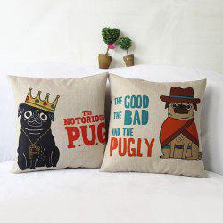Cute Cartoon Pugly Printed Composite Linen Blend Pillow Case