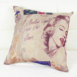 Stylish Marilyn Monroe Printed Square Composite Linen Blend Pillow Case - COLORMIX