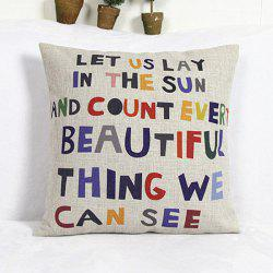 Encourage Sentence Printed Square Composite Linen Blend Pillow Case - RANDOM COLOR PATTERN