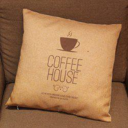 Fashionable Coffee Cup Pattern Printed Square Composite Linen Blend Pillow Case -