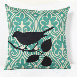 Charming Bird Printed Square Composite Linen Blend Pillow Case - LIGHT GREEN