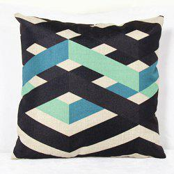 Charming Colorful Stripe Printed Square New Composite Linen Blend Pillow Case -