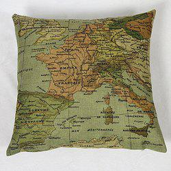 Chic Home Decorative Linen Blended Cover Map Printed Pillow Case -