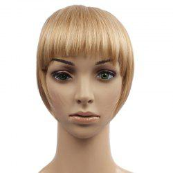 Fashion Fluffy Heat Resistant Fiber Straight Brown Capless Full Bang With Sideburns For Women