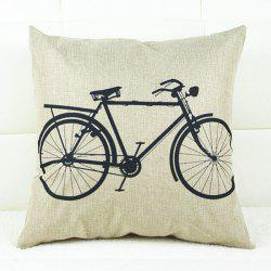 Fresh Bicycle Pattern Linen Decorative Pillowcase(Without Pillow Inner) -