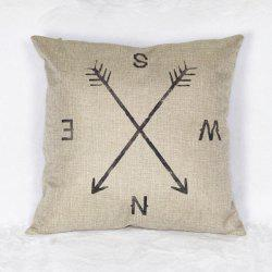 Casual Linen Compass Pattern Decorative Pillowcase (Without Pillow Inner) - WHITE AND BLACK
