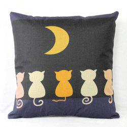 Funny Linen Cat Pattern  Decorative Pillowcase (Without Pillow Inner) -