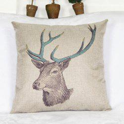 Simple Deer Head Pattern Cotton and Linen Decorative Pillowcase -