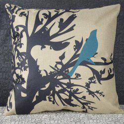 Cute Cartoon Bird Printed Square Composite Linen Blend Pillow Case - WHITE AND BLACK