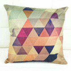 Simple Colorful Geometric Printed Square Composite Linen Blend Pillow Case - COLORMIX
