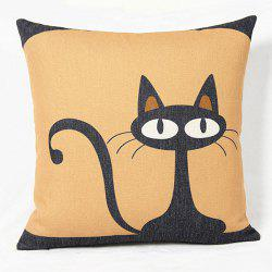 Charming Black Kitten Printed Square Composite Cotton Linen Blend Pillow Case - COLORMIX