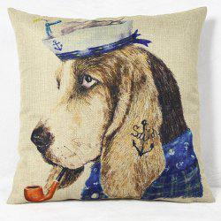 Charming Animal Printed Square New Composite Linen Blend Pillow Case -