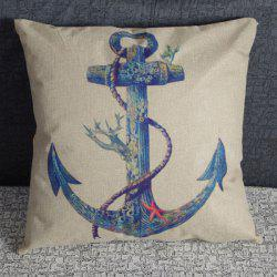 Charming Anchor Printed Square New Composite Linen Blend Pillow Case -