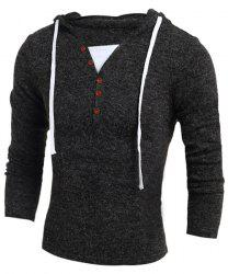 Single-Breasted Drawstring Hooded Solid Color Slimming Long Sleeves Men's Thicken Sweater - DEEP GRAY