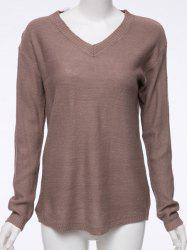 V Neck Pullover Tunic Sweater - DARK KHAKI