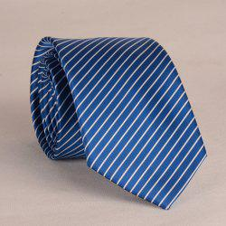 Stylish White Slim Stripe Pattern 8CM Width Tie For Men - DEEP BLUE