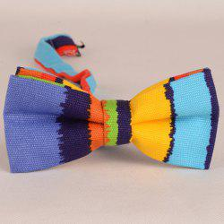 Stylish Multicolor Irregular Stripe Pattern Bow Tie For Men - LIGHT BLUE