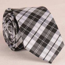 Stylish White and Black Tartan Pattern 6.5CM Width Tie For Men -