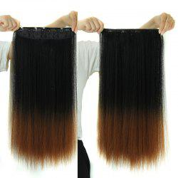 Fashion Long Silky Straight Black Ombre Brown Synthetic Clip-In Hair Extension For Women