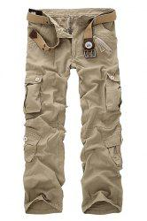 Multi Pockets Straight Leg Military Cargo Pants - LIGHT KHAKI 40